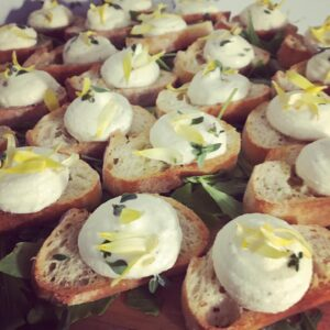 Goat cheese mousse canapes