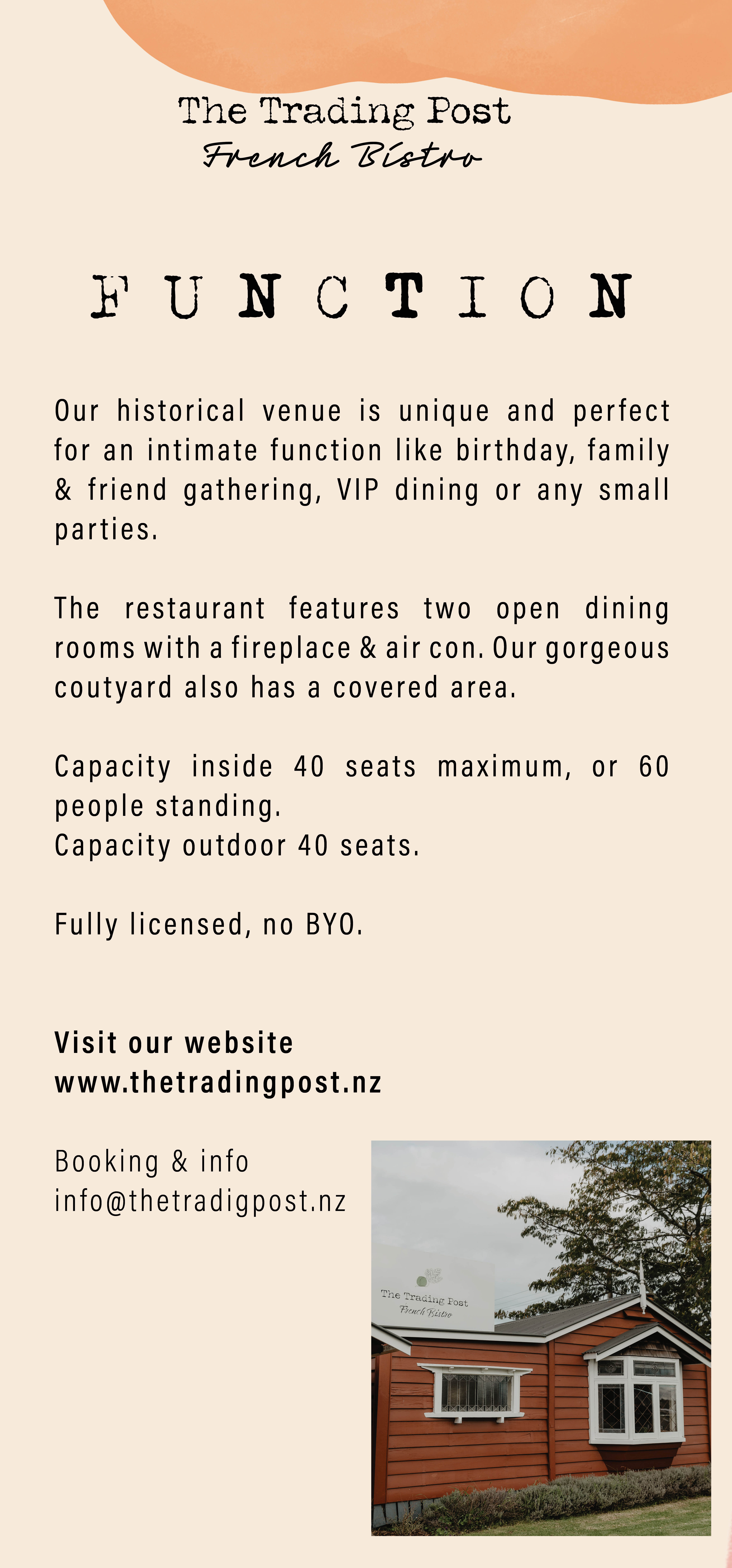 Function 2021 flyer The Trading Post French Bistro